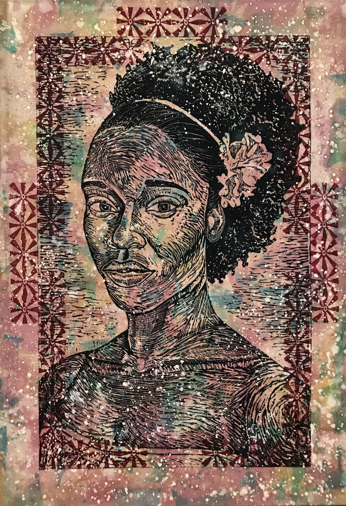Latoya Hobbs Angel III Wood cut monoprint on muslin 53 x 36