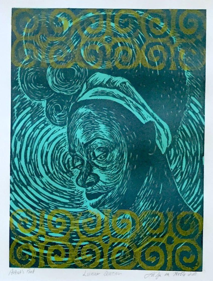 Latoya Hobbs Lunar Queen, 2011.0 Linoleum Cut 16 x 12
