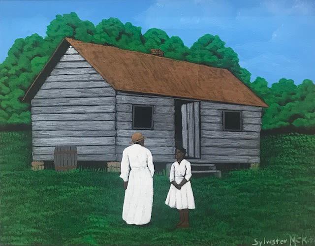 Sylvester McKissick The Conversation, 2004 Acrylic on Canvas 14 x 11