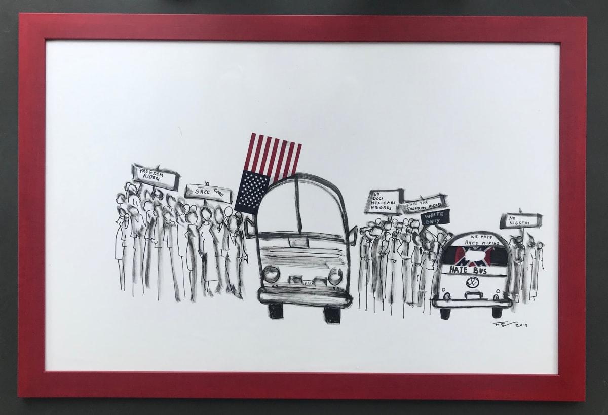 Frank Frazier The Hate Bus, 2019 Shoe Polish 24 x 43 1/2