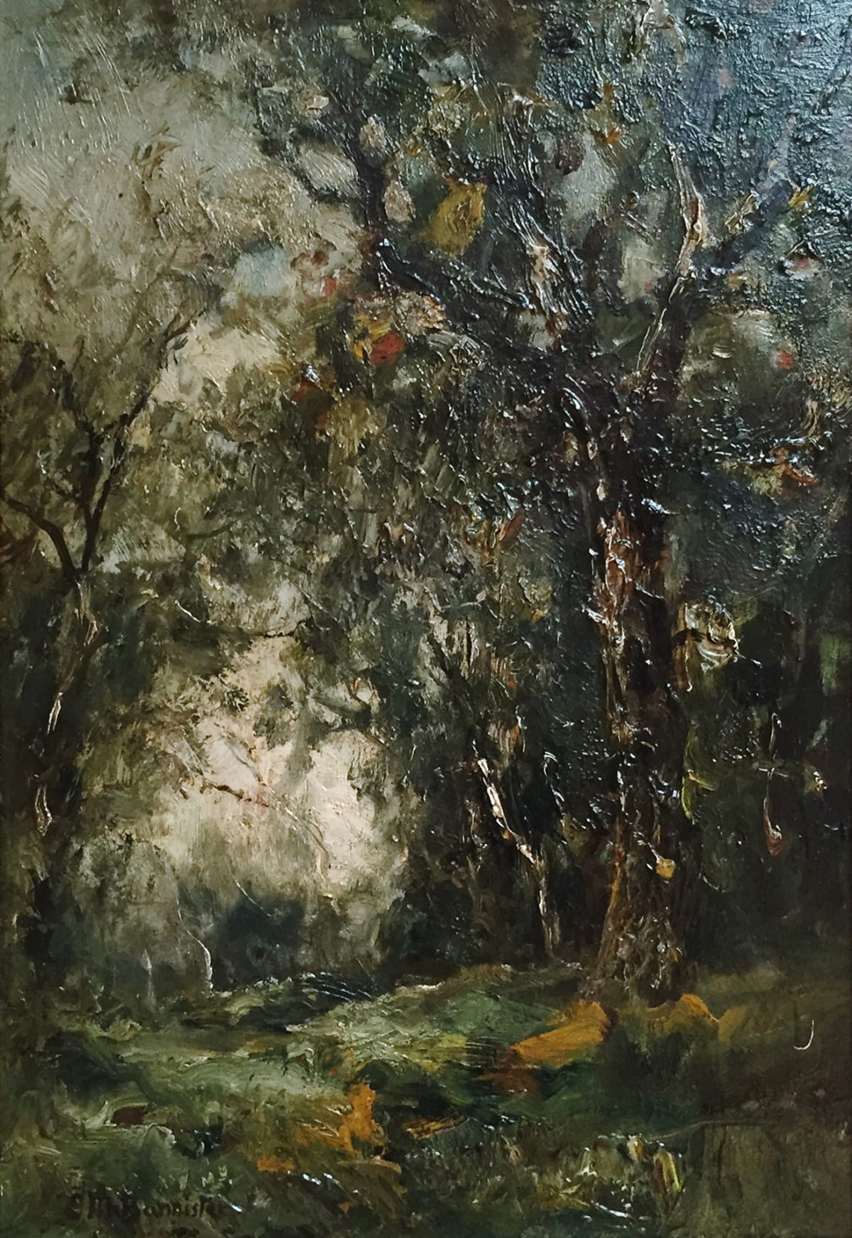 Edward Mitchell Bannister Untitled, Landscape/Female Figure, Double Sided Oil on Board 14 x 10