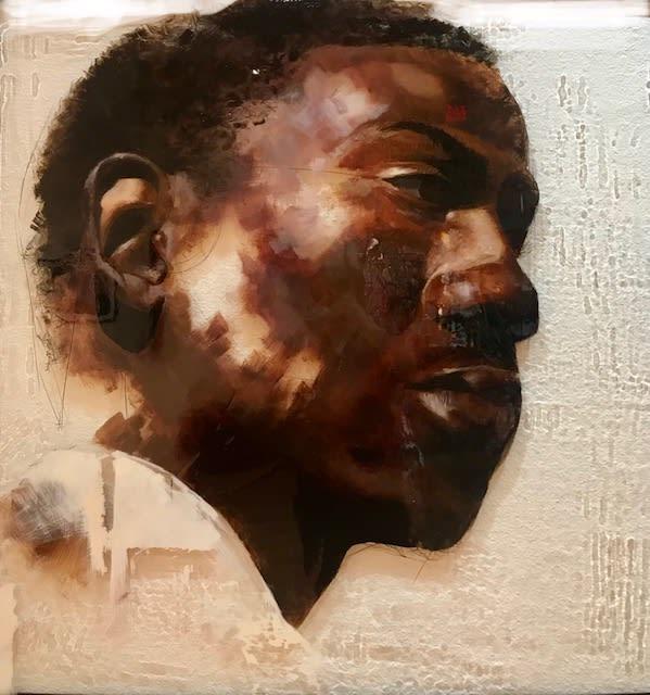 Louise Mandumbwa In Retrospect, 2018 Oil and China Marker on Acrylic 48 x 48
