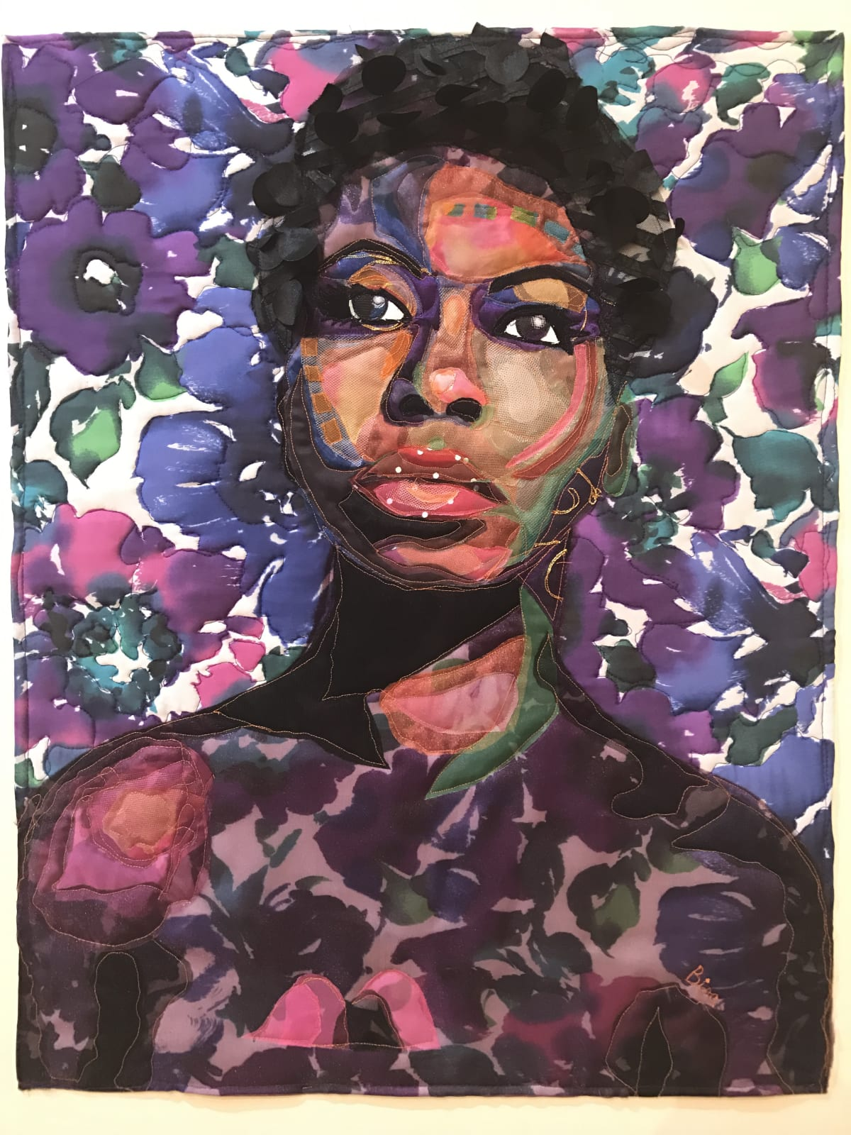 Bisa Butler My Skin Is Black: Tribute to Nina Simone , 2017 Silk, Tulle, Lace, and Cotton: Quilted and Appliqué 25 x 35 1/2
