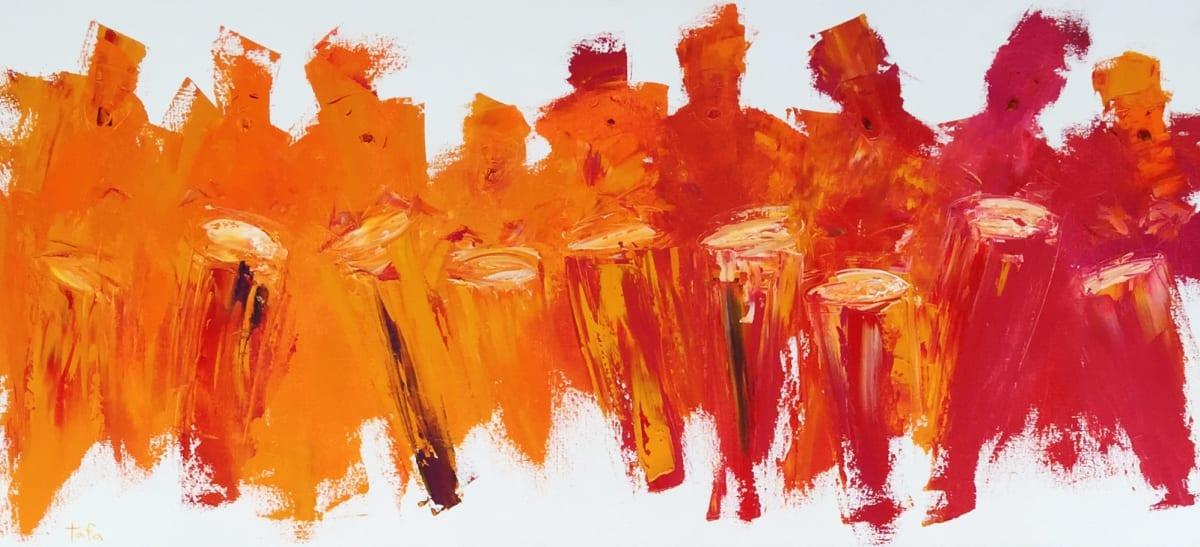 TAFA Drummers Syncopation, 2008.0 Oil on Canvas 24 x 52
