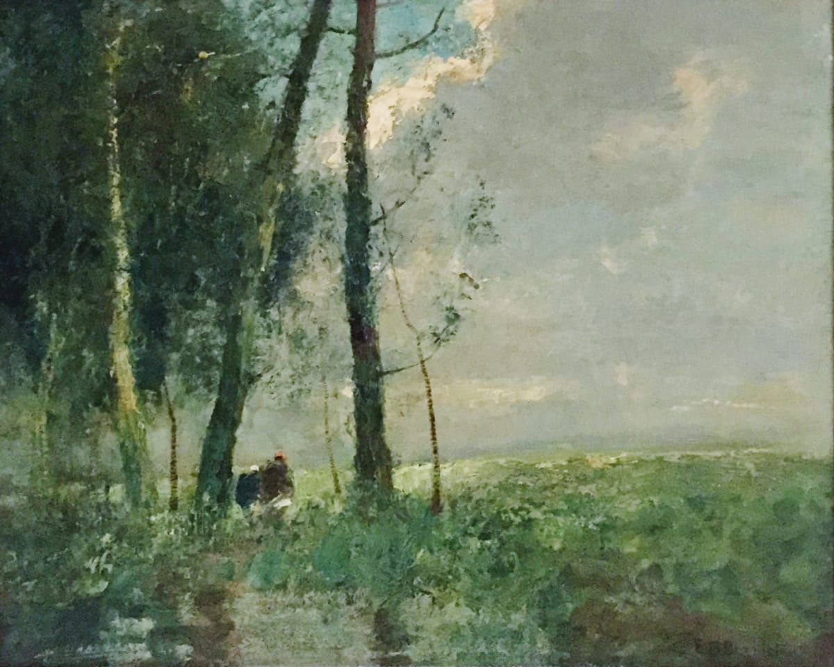 Edward Mitchell Bannister Landscape (two people under trees), c. 1852 Oil on Canvas 17 x 21