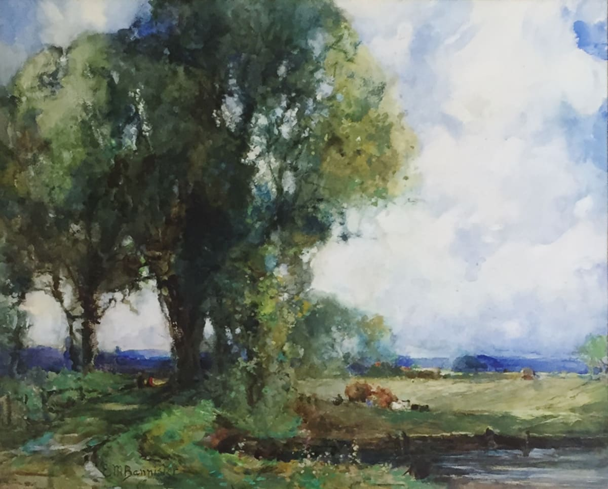 Edward Mitchell Bannister Landscape Pathway trees and Cows, c.1888 Watercolor 16 1/2 x 20 1/4