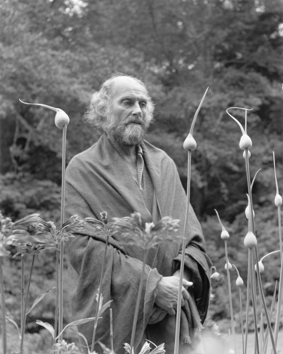 Morris Graves in His Leek Garden, 1973
