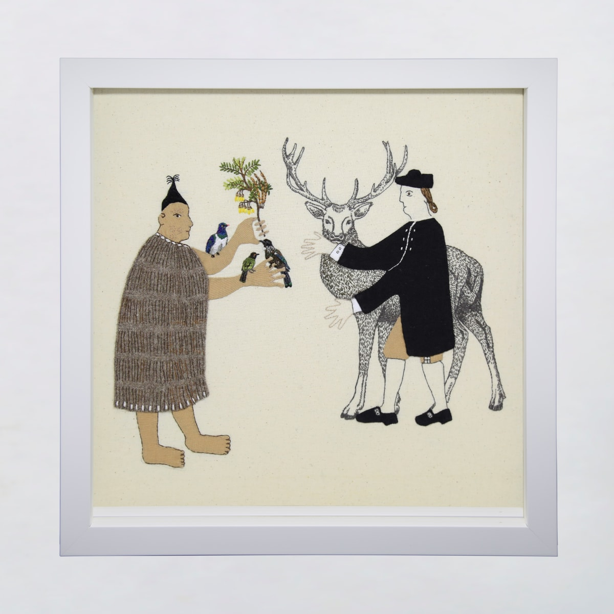 Sarah Munro Trade Items - Kowhai, Manu, Deer, 2019 cloth and thread 330mm x 330mm