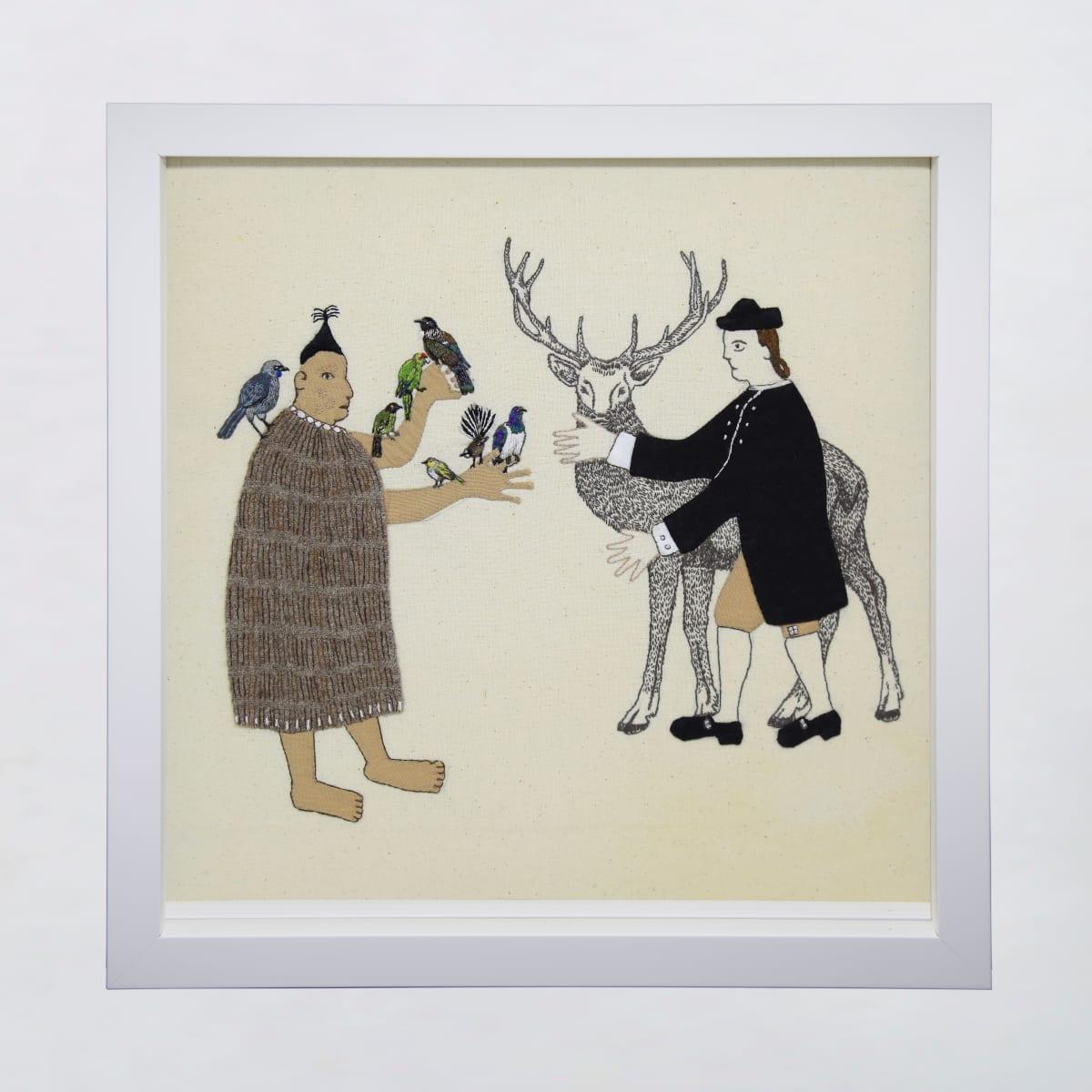 Sarah Munro Trade Items - Dawn Chorus, Deer, 2019 cloth and thread 330mm x 330mm
