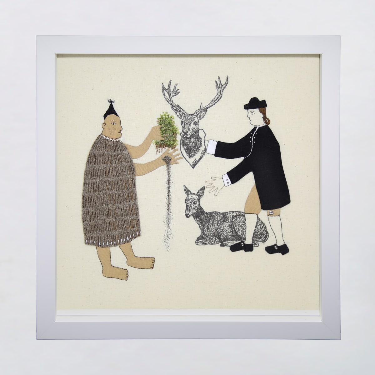 Sarah Munro Trade Items - Moss, Filmy Ferns, Deer, Erosion, 2019 cloth and thread 330mm x 330mm