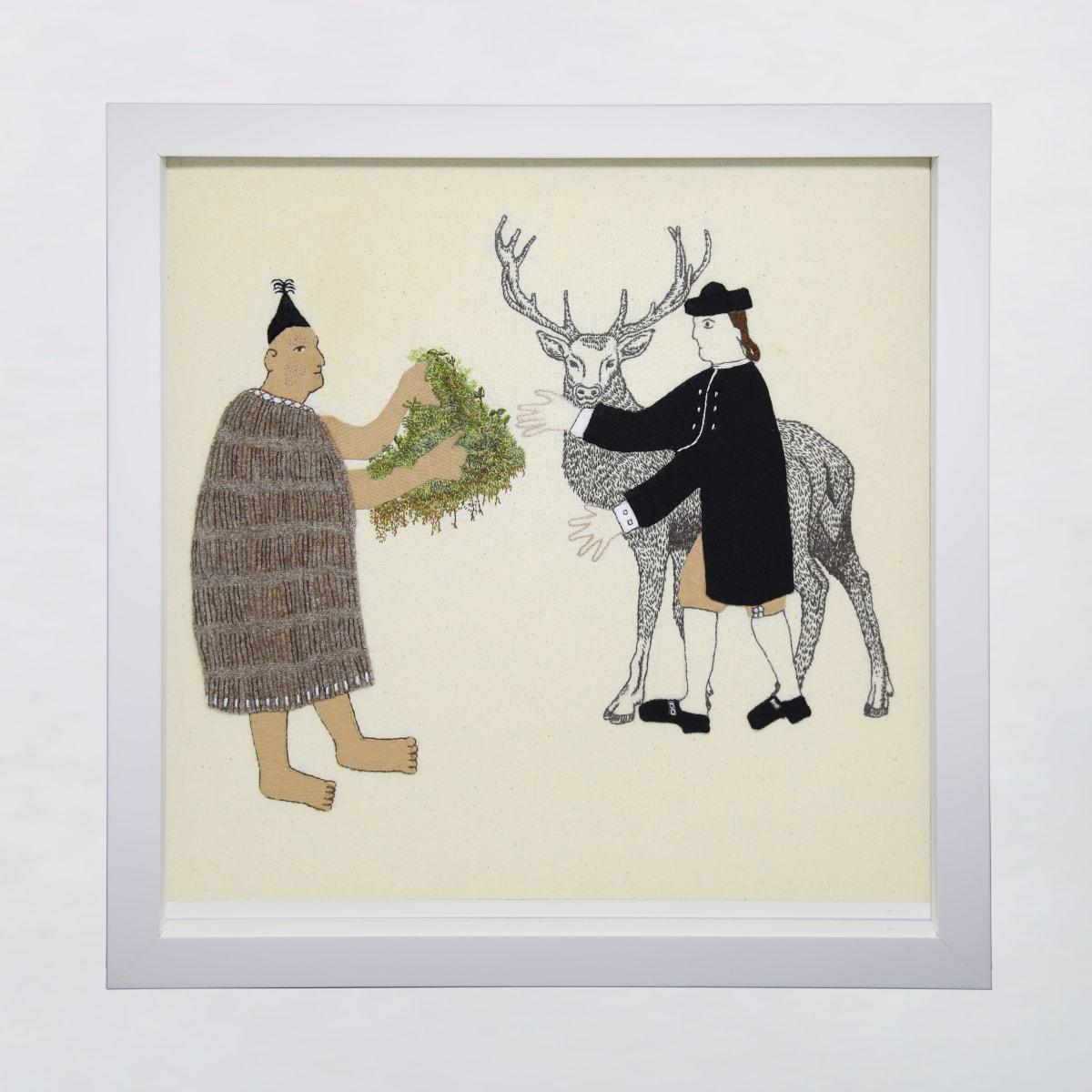 Sarah Munro Trade Items - Moss, Filmy Ferns, Deer, 2019 cloth and thread 330mm x 330mm
