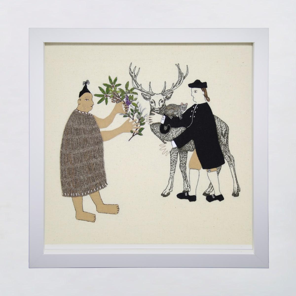 Sarah Munro Trade Items - Understorey, Possum, Deer, 2019 cloth and thread 330mm x 330mm