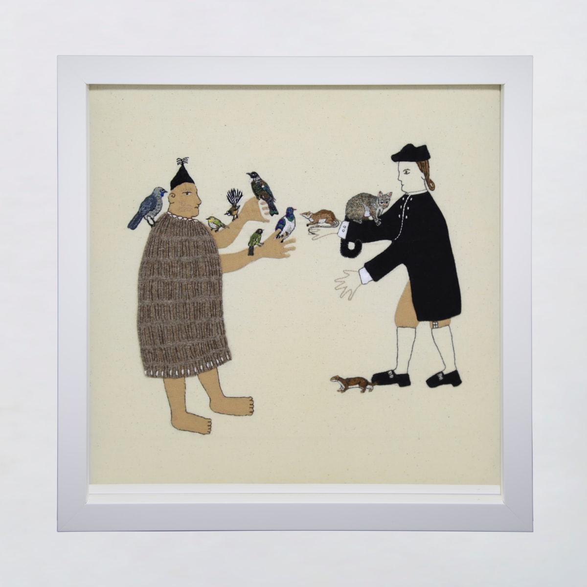 Sarah Munro Trade Items - Dawn Chorus, Possum, Rat, Stoat, 2019 cloth and thread 330mm x 330mm