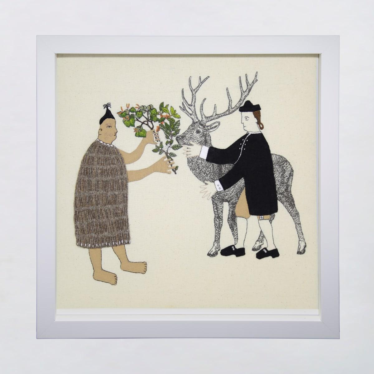 Sarah Munro Trade Items - Understorey, Deer, 2019 cloth and thread 330mm x 330mm