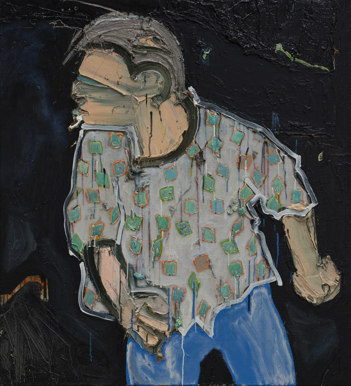 Toby Raine, Mel Gibson Getting Drunk and Blaming it on the Jews. Painting Number 5 (checked shirt, cigarette), 2018