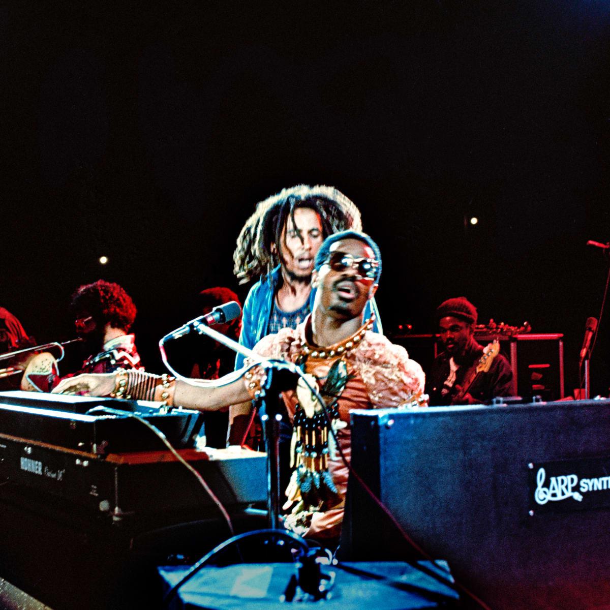 Kwame Brathwaite, Untitled (Dream concert cropped Stevie & Bob), 1975, printed 2018