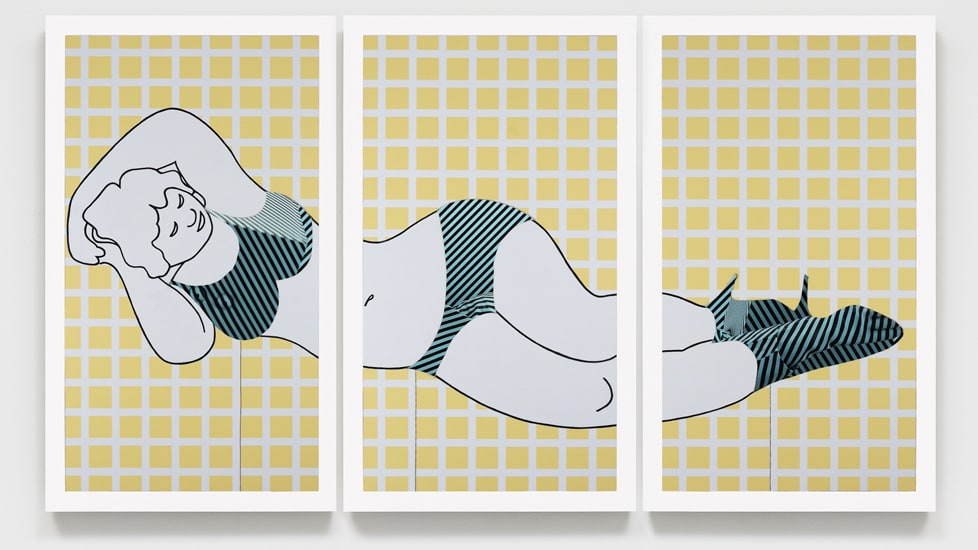 Brian Bress, Reclining Unnude (on yellow grid), 2015