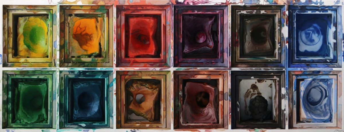 Javier Banegas Watercolour Box, 2016 Oil on board 53.5 x 140 cm