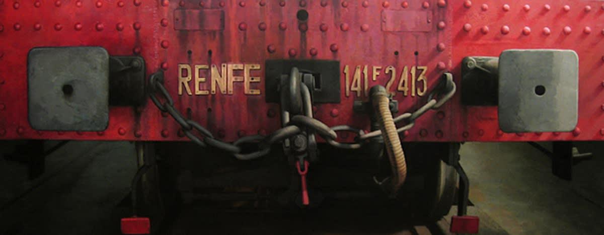 Javier Banegas Train Oil on board 80 x 200 cm