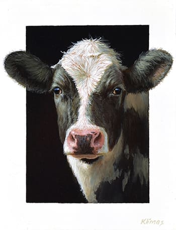 Alexandra Klimas Miniature painting, Ella a yearling Calf Oil on panel 13 x 10 cm