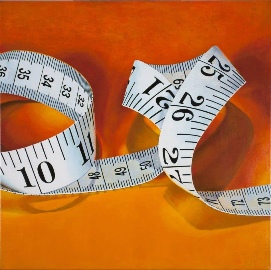 Cynthia Poole Tape Measure II acrylic on fine linen 76 x 76 cm