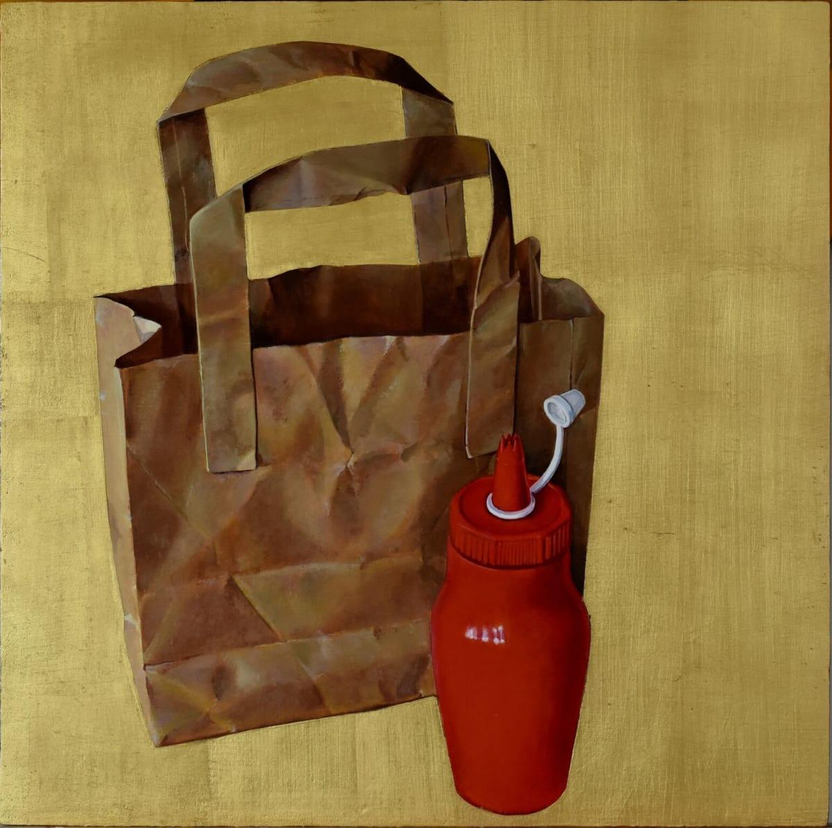 Cynthia Poole Paperbag Acrylic on gessoed board with gold leaf 51 x 51 cm