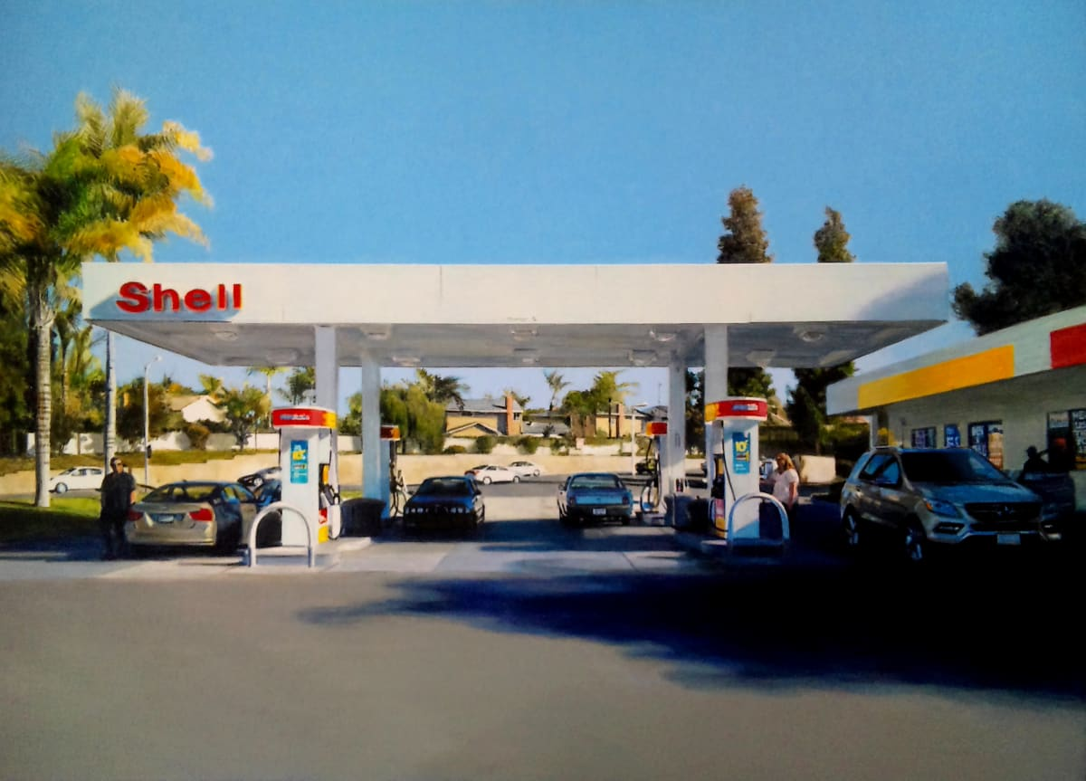 Romain E. Shell station in Orange County Acrylic on cardboard 29 x 38 cm