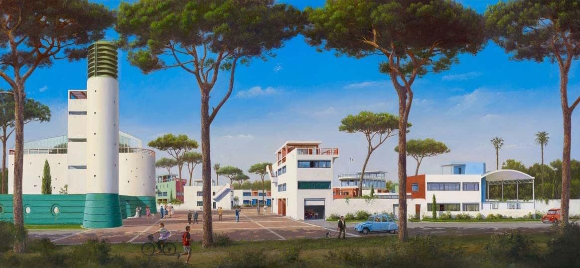Carl Laubin Machines For Living I, 2015 Oil on canvas 56 x 122 cm