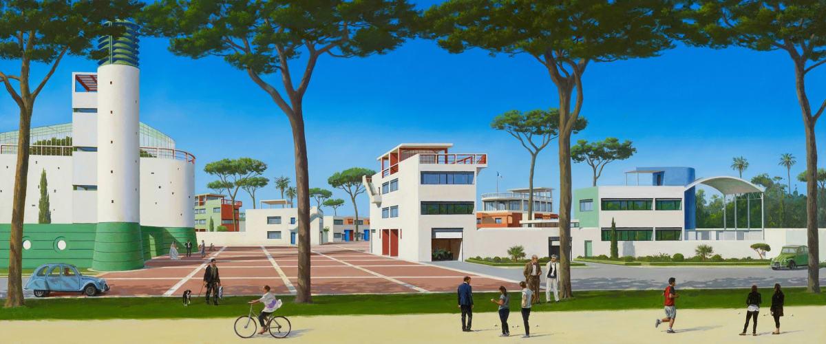 Carl Laubin Machines For Living III, 2015 Oil on canvas 51 x 122 cm