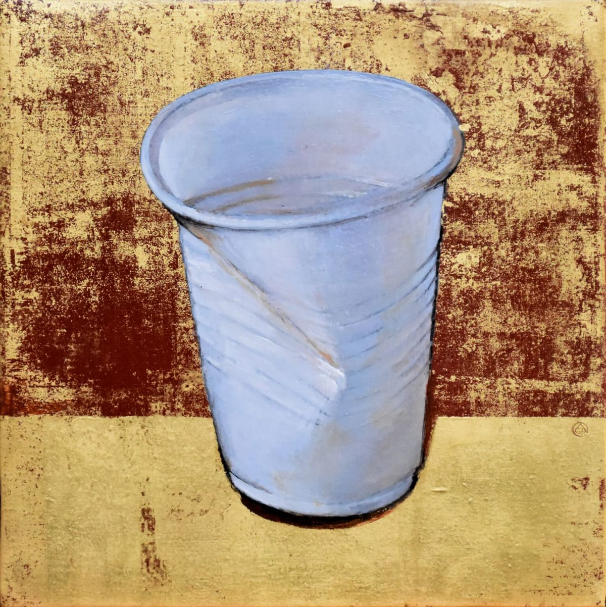 Cynthia Poole Water Cooler Cup Acrylic on canvas with gold leaf 25 x 25 cm