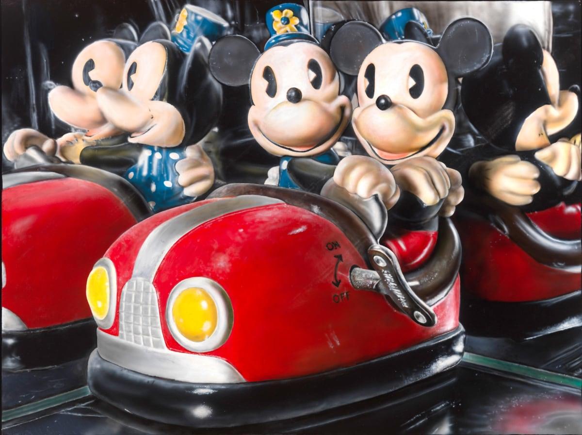 Cesar Santander Micky and Minnie Bumper Car oil and acrylic on canvas 91 x 122 cm