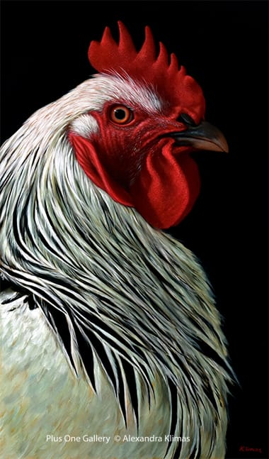 Alexandra Klimas Charlie the Rooster III Oil on canvas 100 x 60 cm