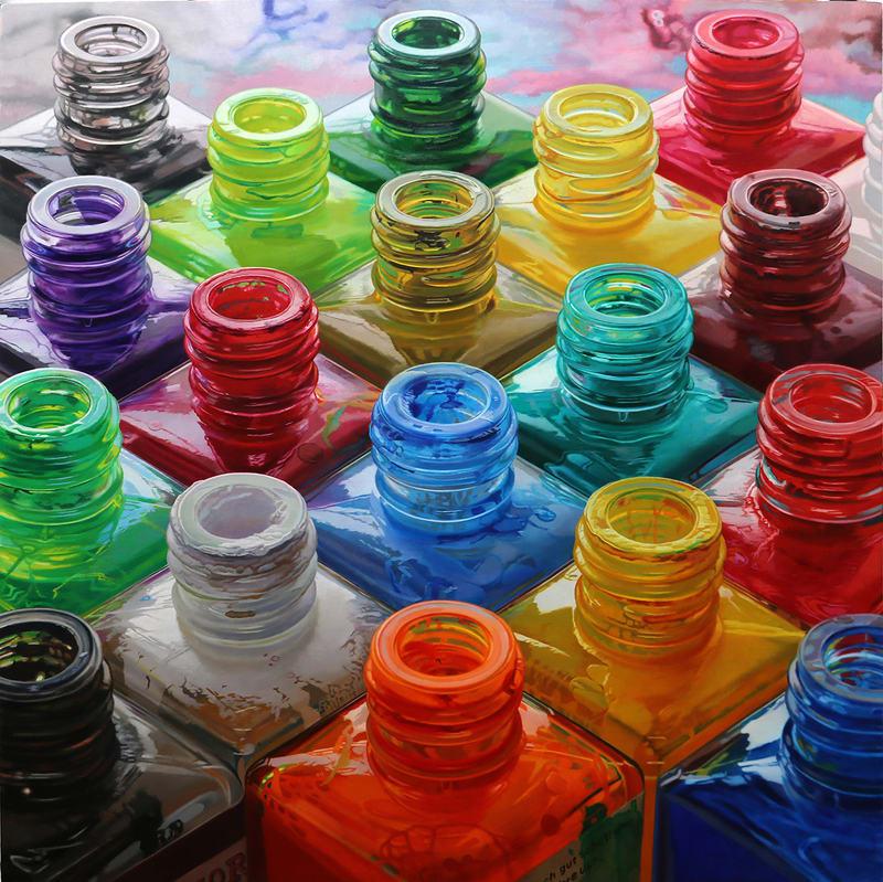 Javier Banegas Eighteen Colours Oil on board 110 x 100 cm