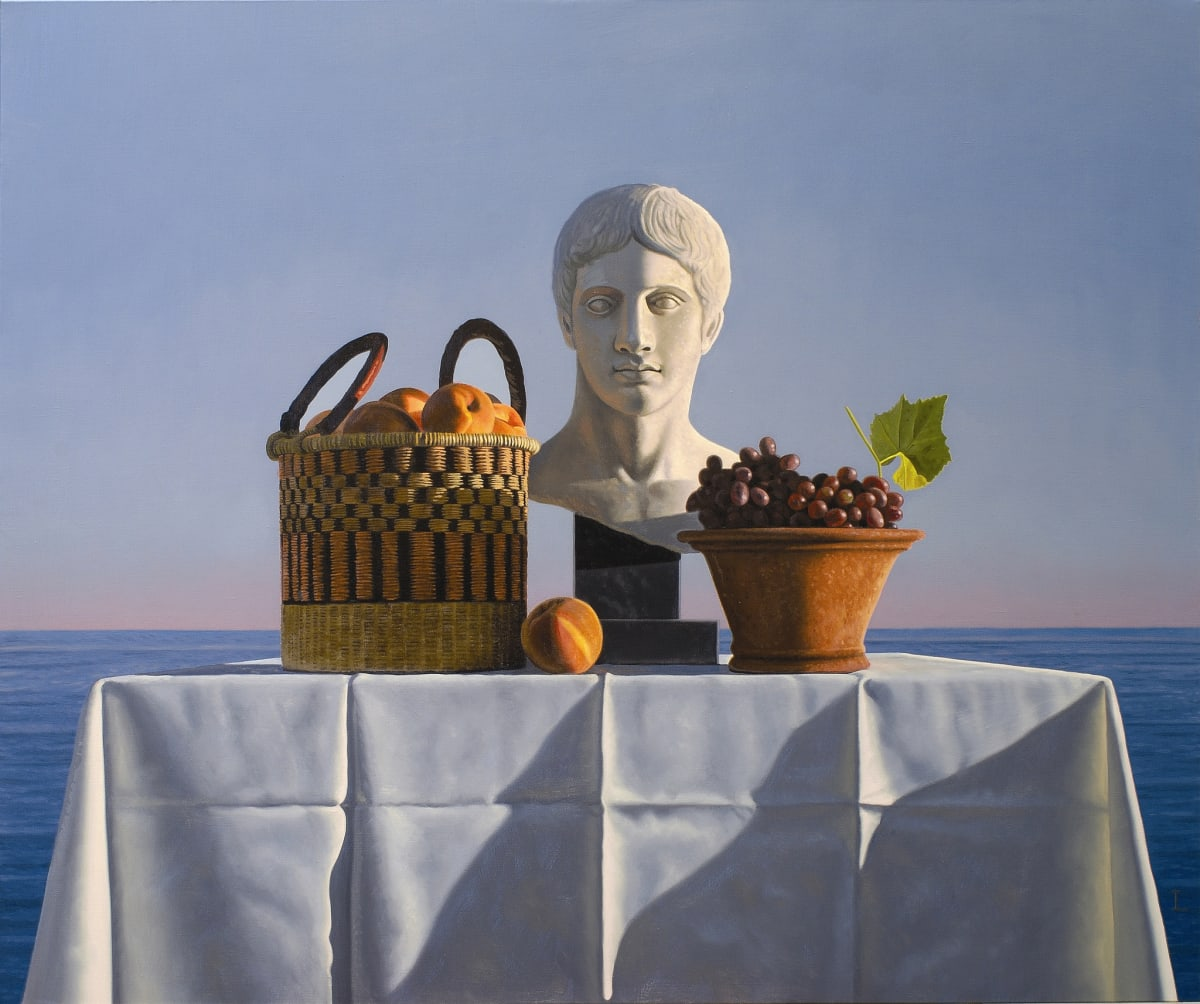 David Ligare STILL LIFE WITH PEACHES, GRAPES AND BUST oil on canvas 102 x 122 cm