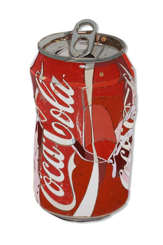 Diederick Kraaijeveld Coke Can Colored salvaged wood 130 x 66 cm