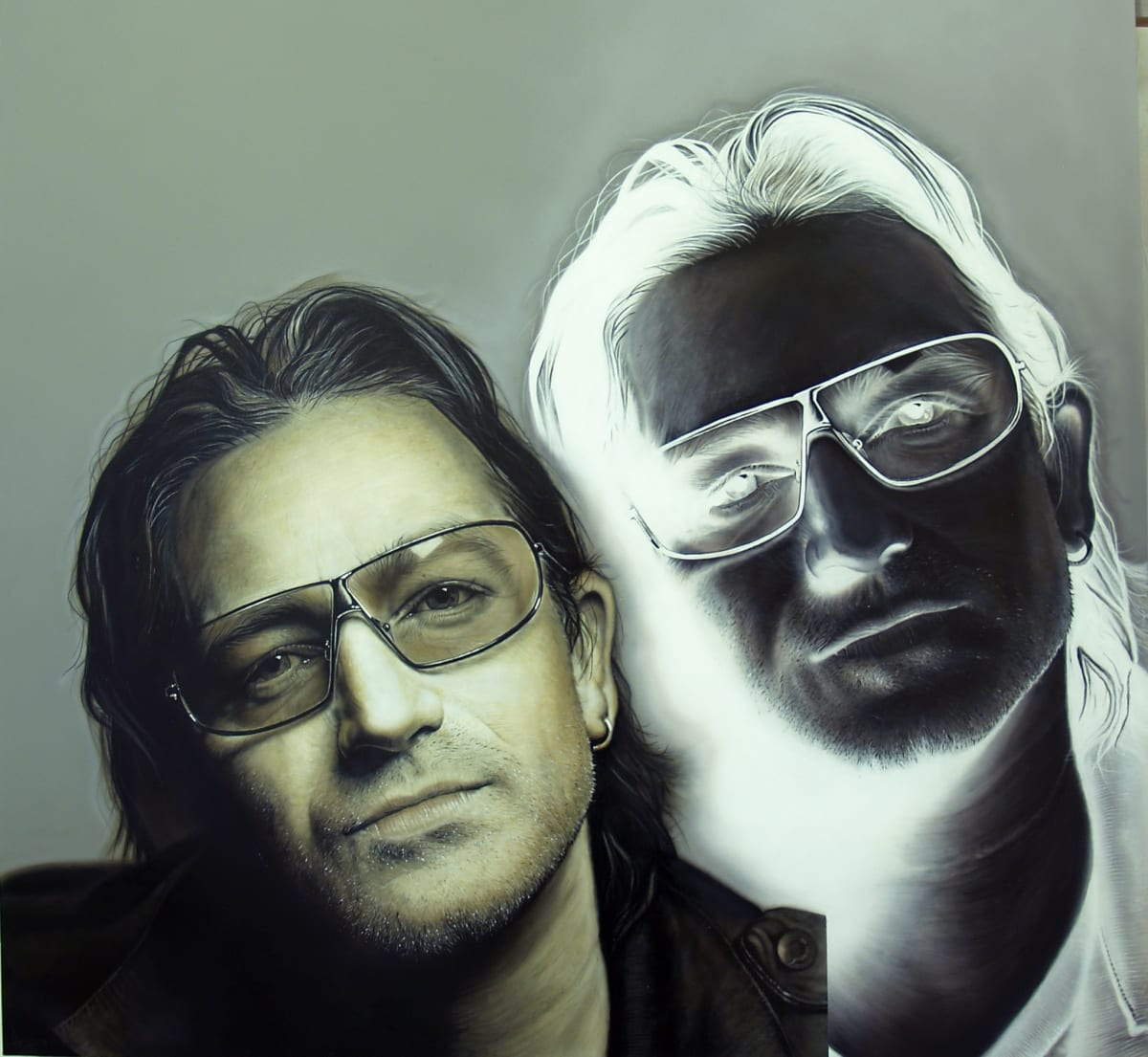 Simon Hennessey Bono (with or without you) acrylic on board 100 x 105 cm