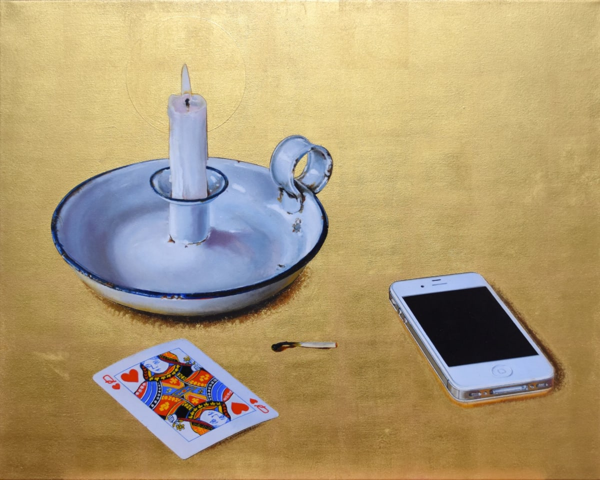 Cynthia Poole Solitude II Acrylic on canvas with gold leaf 76 x 61 cm