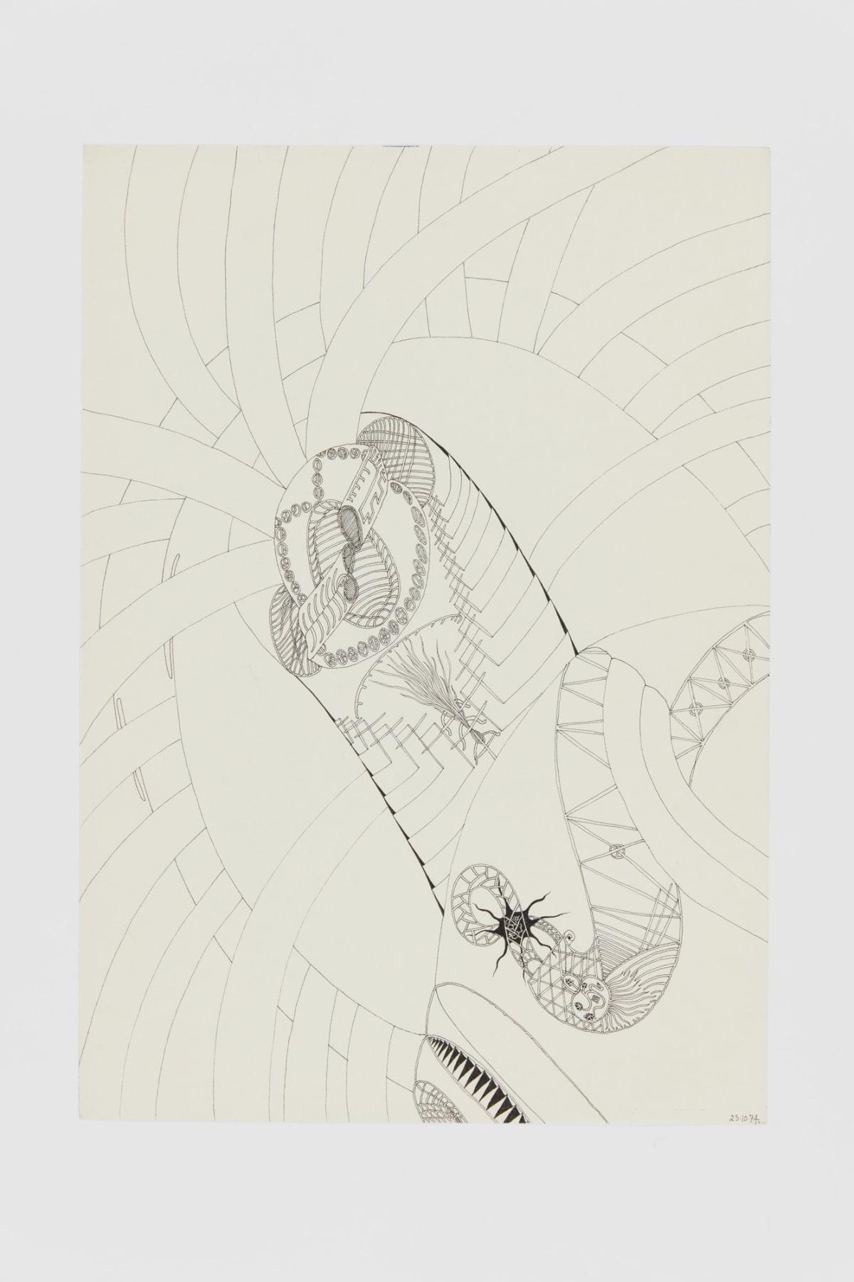 Ann CHURCHILL 23.10.74 (Daily drawings), 1974 Pen on paper 29.7 x 20.9 cm