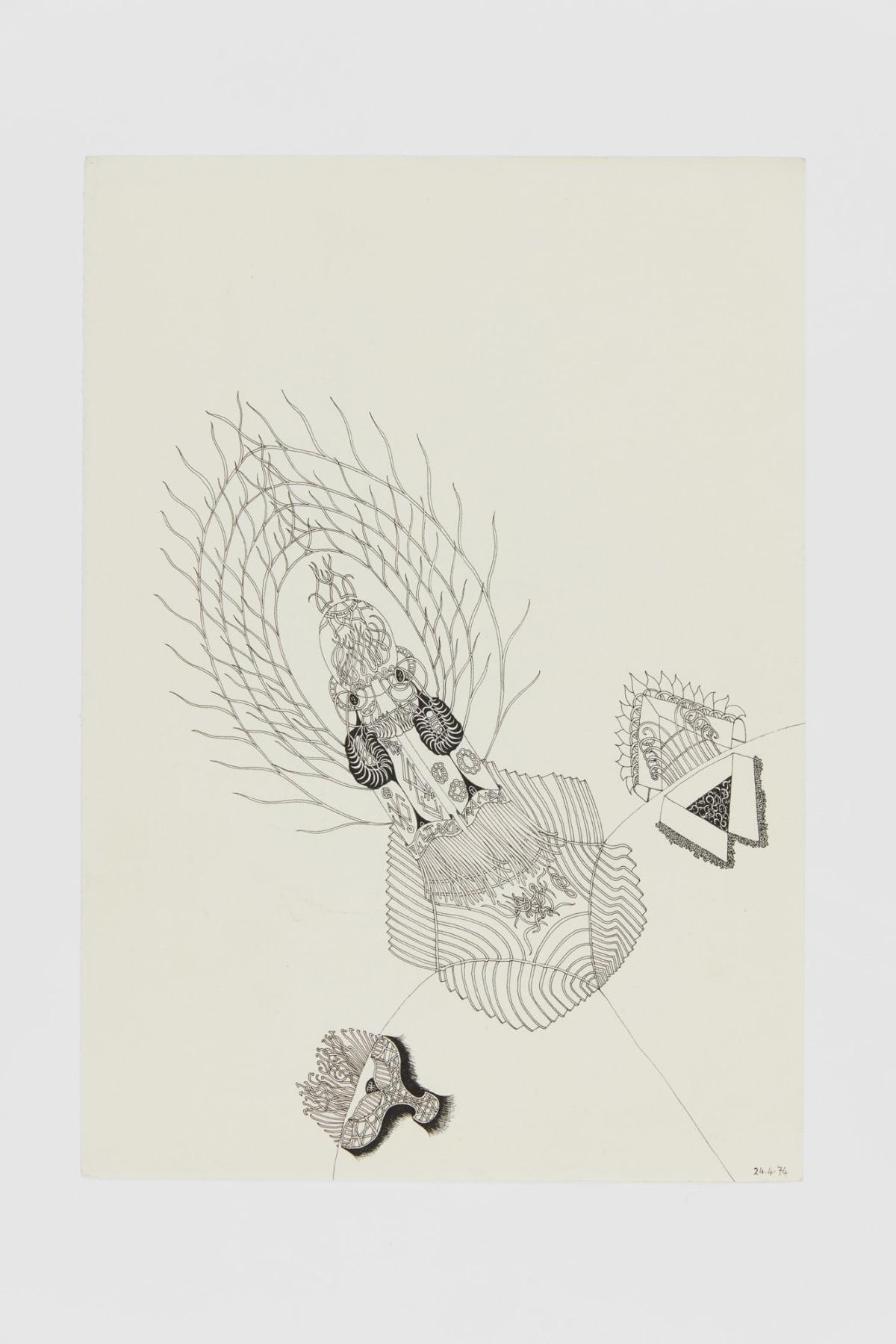 Ann CHURCHILL 24.4.74 (Daily drawings), 1974 Pen on paper 29.7 x 20.9 cm