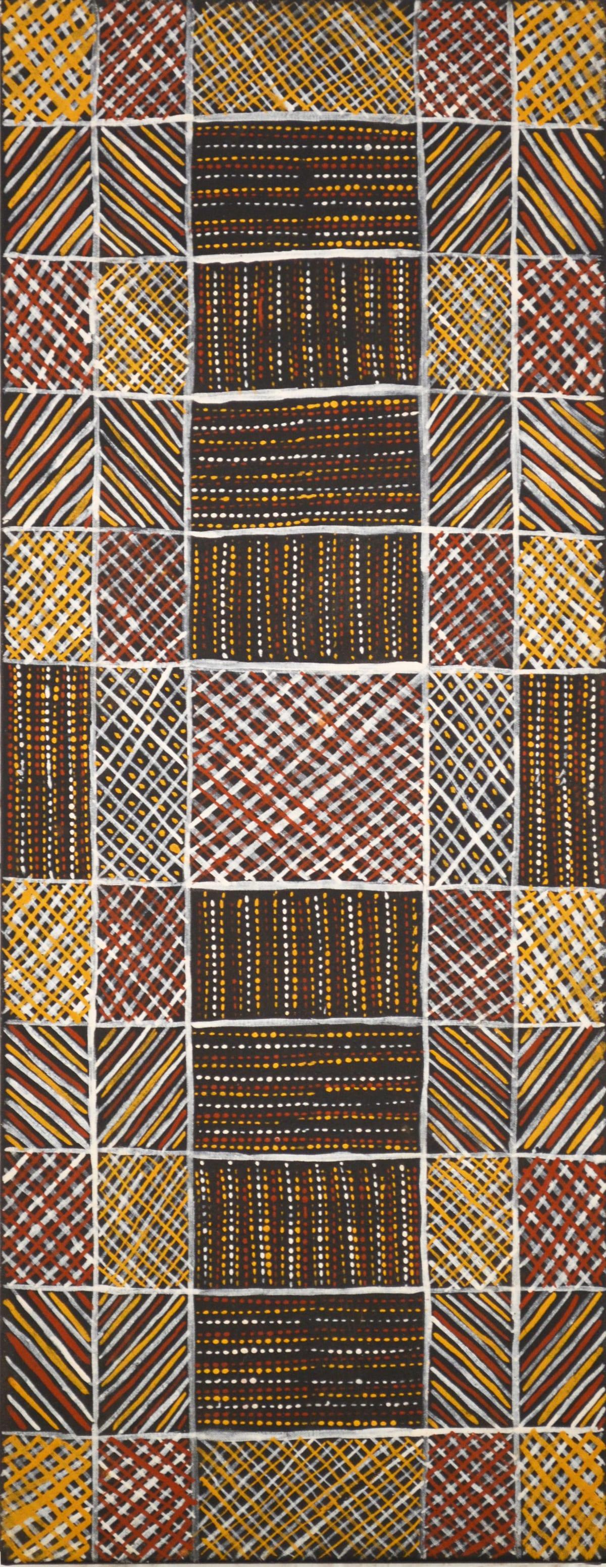 Brian Farmer Illortamini Jilamara natural ochres on canvas 30 x 80 cm