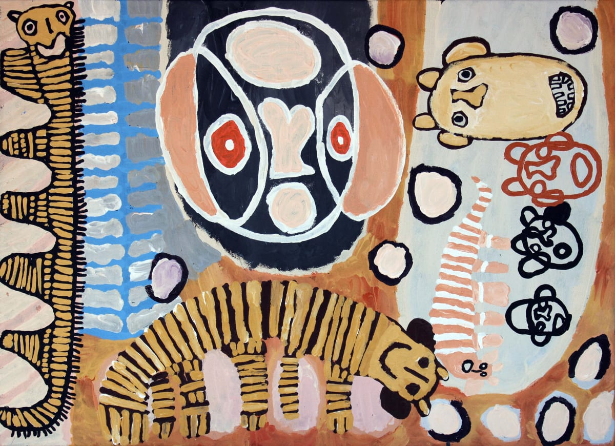Tiger Yaltangki Mulpa Wiru Mamutjara (Good Friend Ghost Story acrylic on canvas 67 x 91 cm