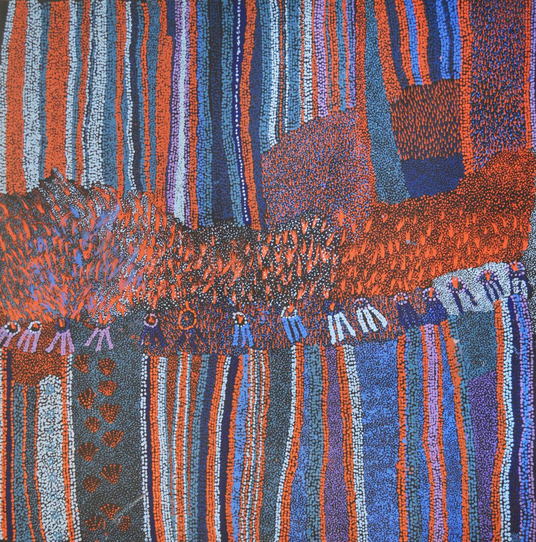 Bernard Tjalkuri Waru Piti acrylic on canvas 100 x 100 cm