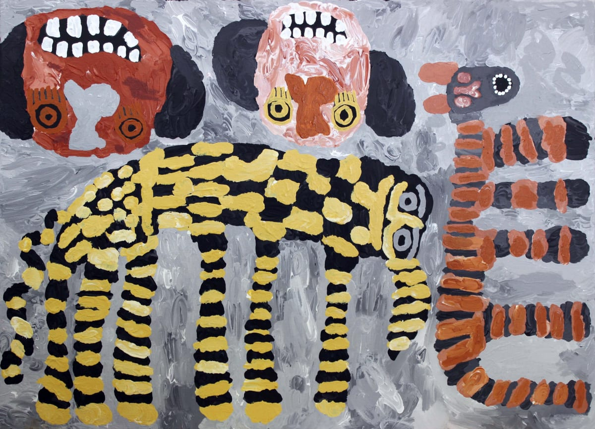 Tiger Yaltangki Malpa Wiru (Good Friends) acrylic on canvas 67 x 91 cm