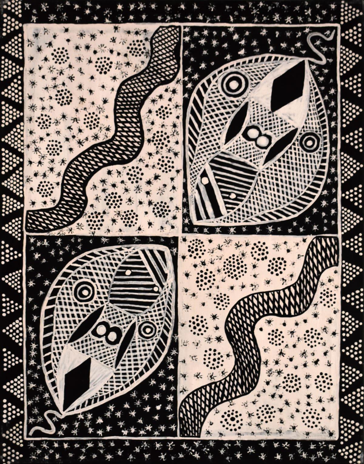 Samuel Scrubby Mantuwunjini (Dugong) amintiya jilamara natural ochres on canvas 70 x 90 cm