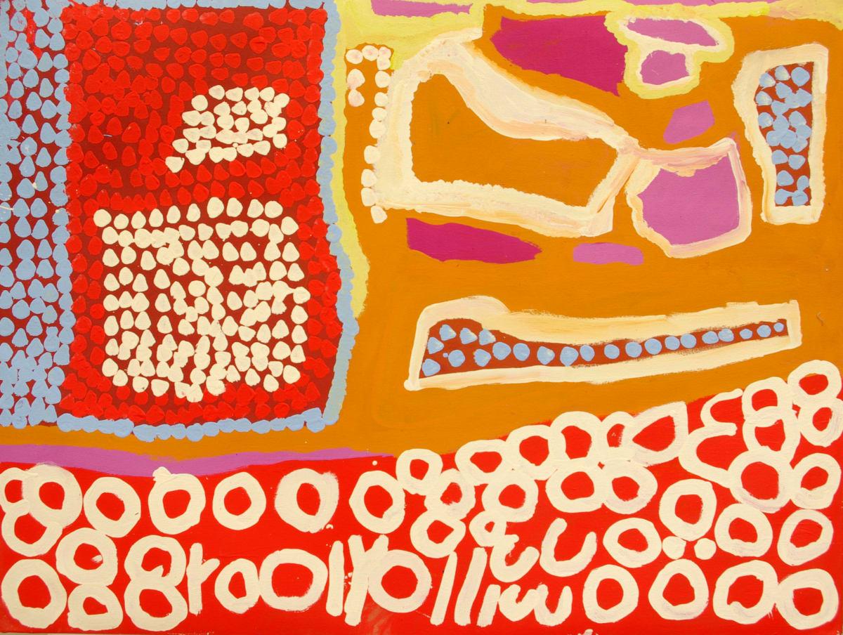 Daisy Japulija Billabongs acrylic on canvas 90 x 120 cm