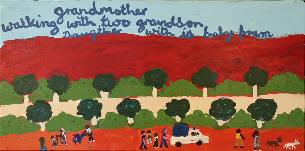 Sally M Mulda Down By The Creek acrylic on linen 46 x 92.5 cm