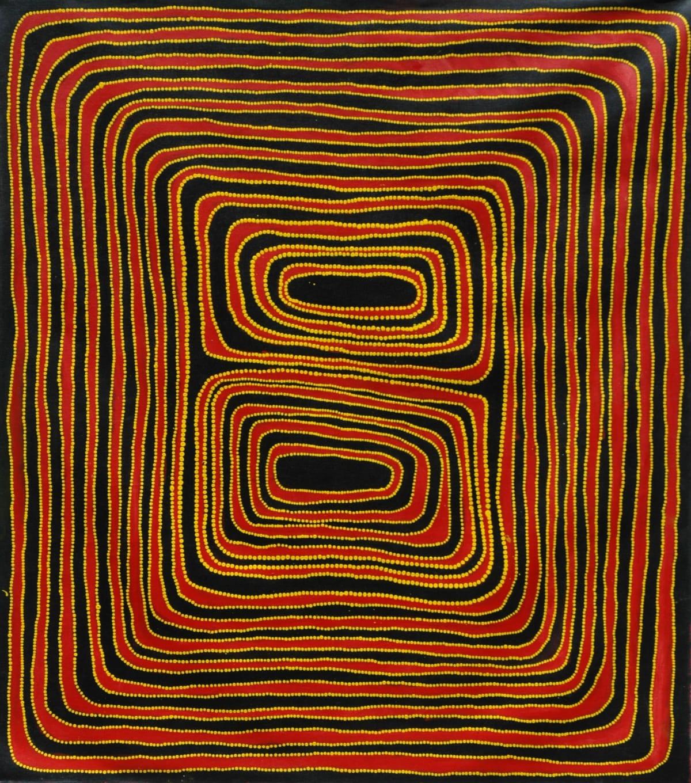 Jimmy (Mawukura) Nerrimah Jilakajarra acrylic on canvas 140 x 120 cm