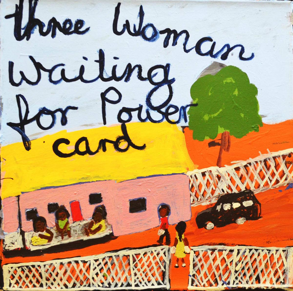Sally M Mulda Three Woman Waiting for Power Card acrylic on linen 56 x 56 cm
