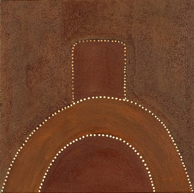 Charlene Carrington Man singing out for his lost dingo natural ochres on canvas 60 x 60 cm