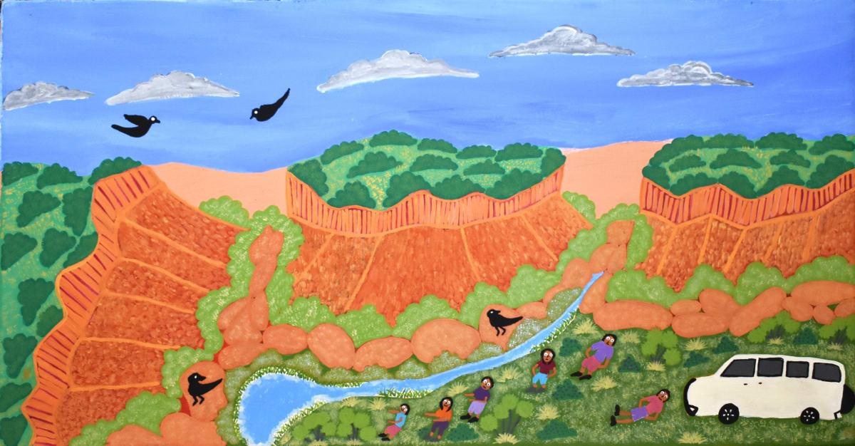 Betty Conway Illari Springs, Tempe Downs acrylic on linen 45.8 x 90 cm